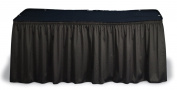 Black Table Skirt and Topper for 6' or 8' Tables, 44.5cm l Shirred Fabric Table Covering Includes hook and loop Receptive Clips for 2.5cm to 5.1cm Edges