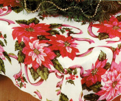 Christmas Tablecloth, Poinsettia Print, 152.4cm x 213.4cm Rectangular