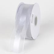 Silver Organza Ribbon Satin Centre 1.6cm 25 Yards
