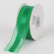 Emerald Organza Ribbon Satin Centre 1-1.3cm 25 Yards