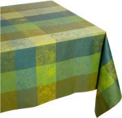 Garnier Thiebaut Mille Couleurs 100-Percent Cotton Coated 175.3cm by 175.3cm Tablecloth, Lime