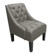 Skyline Furniture Tufted Swoop Arm Chair in Linen Grey