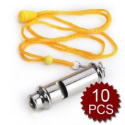 (Price/10 Pcs)GOGO Metal Police Whistle, Scout Guide, Emergency Survival Whistle With Lanyard