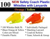 Bulk Lot of 100 NEW Safety Plastic Whistle with Lanyard Orange/Yellow