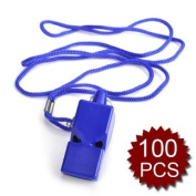 (Price/100 Pcs)GOGO Plastic Safety Classic Whistle With Lanyard - Pealess, Party Favours