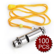 (Price/100 Pcs)GOGO Scout and Guide Whistle, Police Whistle With Lanyard & Hook, Emergency Whistle