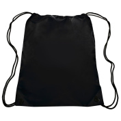 Classic Drawstring Backpack Book Tote Sports Bag Durable . , Black by BAGS FOR LESSTM
