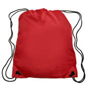 Nylon Sports Drawstring Backpack Bag Durable, Lightweight, Red