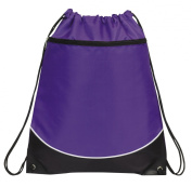 Deluxe Cinch Drawstring Two Tone Backpack Bookpack Bag, Purple