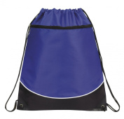 Deluxe Cinch Drawstring Two Tone Backpack Bookpack Bag, Royal Blue