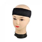 Como Adult Terrycloth Elastic Tennis Runner Head Band Sweatband Headband Black