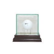 Glass Golf Ball Display Case with Cherry Wood Moulding