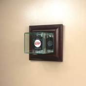 Wall Mounted Glass Single Hockey Puck Display Case with Cherry Wood Moulding