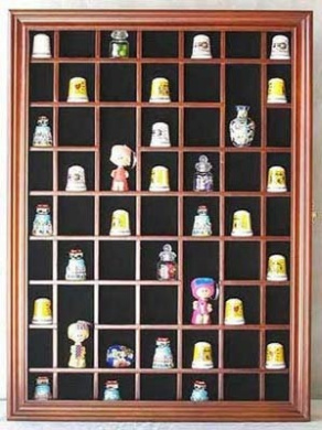 59-Opening Souvenir Thimble Small Miniature Display Case Cabinet Rack Holder, with REAL Glass Door, SOLID WOOD-Walnut Finish