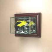 Wall Mounted Glass Football Mini Helmet Display Case with Cherry Wood Moulding
