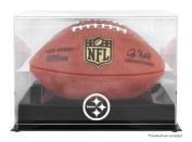 Pittsburgh Steelers Black Base Football Logo Display Case with Mirror Back