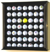 49 Golf Ball Display Case Cabinet Rack Stand Holder w/ UV Protection -Black Finish