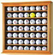 49 Golf Ball Display Case Cabinet Rack Stand Holder w/ UV Protection -Oak Finish