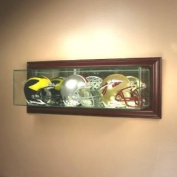 Wall Mounted Glass Football Triple Mini Helmet Display Case with Cherry Wood Moulding