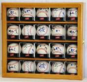20 Baseball Arcylic Cubes Display Case Cabinet Holders Rack w/ UV Protection, Oak