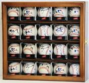 20 Baseball Arcylic Cubes Display Case Cabinet Holders Rack w/ UV Protection, Walnut