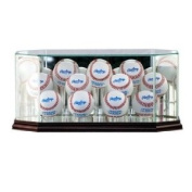 Glass Eleven (11) Baseball Display Case with Cherry Wood Moulding