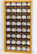 40 Baseball Arcylic Cubes Display Case Cabinet Holders Rack w/ UV Protection, Oak