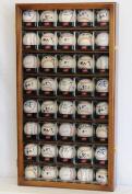 40 Baseball Arcylic Cubes Display Case Cabinet Holders Rack w/ UV Protection, Walnut