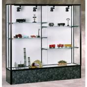 Monarch Series 573 Aluminium Frame Lighted Display Case, Black Marble Laminate Base, Dark Bronze Aluminium Frame, Mirror Display Back