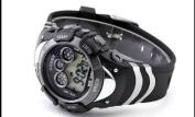 OHSEN Mens Black Date Alarm 7 Modes Backlights Multifunction Sport Rubber Watch