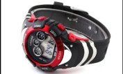 OHSEN Mens Red Date Alarm 7 Modes Backlights Multifunction Sport Rubber Watch