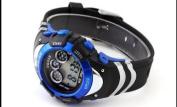 OHSEN OHSEN Mens Blue Date Alarm 7 Modes Backlights Multifunction Sport Rubber Watch