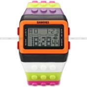 SHHORS Block Silicone Digital Light Mens Lady Sport Wrist Watch Black Orange