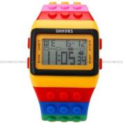 SHHORS LCD Digital Alarm Lady Men Block Constructor Stopwatch Sport Rubber Watch