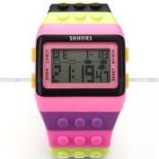 SHHORS Mens Ladies Blocks Constructor Digital LED Backlight Alarm Sport Wrist Watch