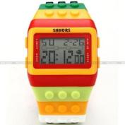 SHHORS Mens Rainbow Block Bricks Date LED Night Light Rubber Band Unisex Watch
