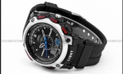 OHSEN LCD Dual Core Mens Sport Date Day Silver Tone Stopwatch Black Rubber Watch
