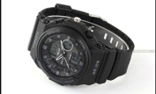 OHSEN LCD Dual Core Mens Sport Date Day Stopwatch Black Dial Rubber Wrist Watch