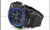 OHSEN LCD Dual Core Mens Women Sport Date Day Blue Stopwatch Black Rubber Watch Gift