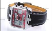 OHSEN LCD Analogue Mens Digital Red Dial Sport Quartz Watch