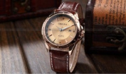 ORKINA Luxury Gold Tone Round Dial Date Brown Leather Band Men's Sport Watch