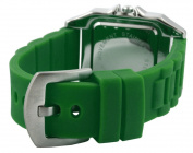 Trax Women's TR5132-BG Posh Square Green Rubber Black Dial Watch