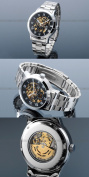 AMPM24 Mechanical Analogue Black Dial Stainless Skeleton Mens Sport Wrist Watch Cool