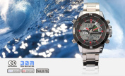 New SHARK Digital Alarm Day Date Stainless Mens Sport Wrist Watch Red Dial