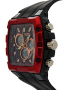 Ohsen Black Strap With Tonneau Dial Chronograph Multifunction Watches
