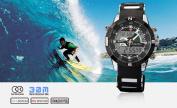 SHARK Mens Alarm LCD Dual Time Chronograph Black Army Military Sport Wrist Watch