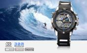 SHARK Mens Army Dual Time LCD Alarm Chronograph Sport Wrist Watch Blue Dial