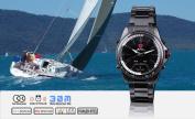 SHARK Mens LED Date Day Analogue SPORT Black Stainless Steel Quartz Wrist Watch