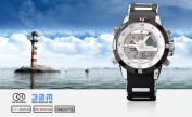 SHARK Mens Dual Time LCD Display Alarm Chronograph Sport Wrist Watch White Dial