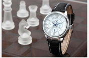 KS Automatic Mechanical White Dial Date Day 24 Hours Men Sport Watch
